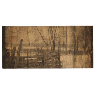 rustic  old fence in field design wood USB 2.0 flash drive