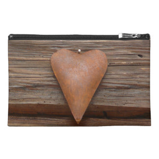 Rustic Old Heart on Log Cabin Wood Travel Accessories Bags