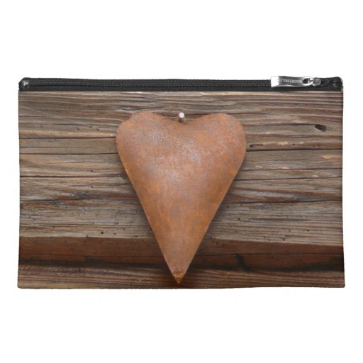 Rustic Old Heart on Log Cabin Wood Travel Accessories Bag