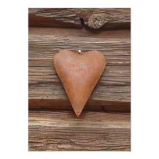 Rustic Old Heart on Log Cabin Wood Card