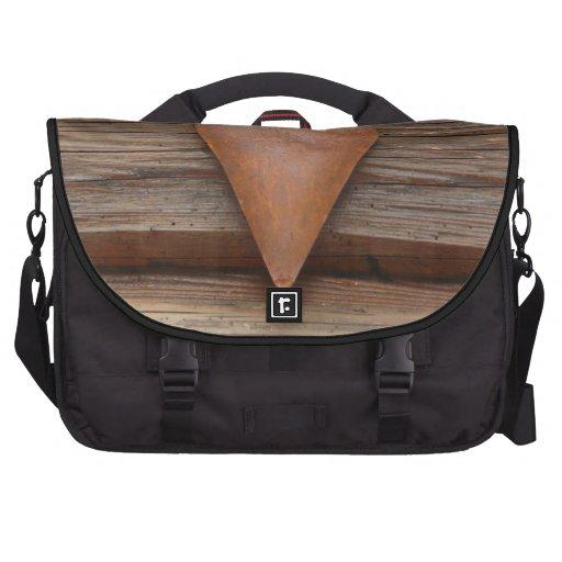 Rustic Old Heart on Log Cabin Wood Commuter Bag