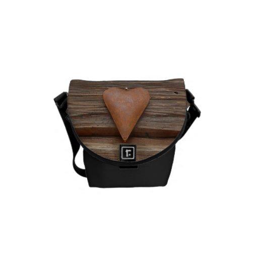 Rustic Old Heart on Log Cabin Wood Messenger Bag