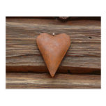 Rustic Old Heart on Log Cabin Wood Post Card