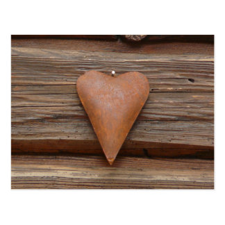 Rustic Old Heart on Log Cabin Wood Postcard