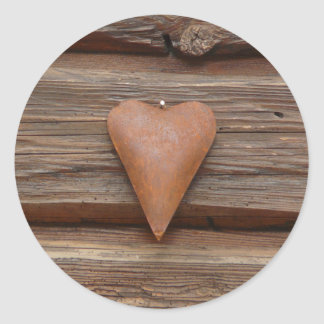Rustic Old Heart on Log Cabin Wood Round Sticker