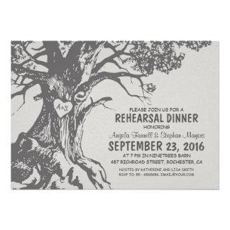 Rustic old oak tree rehearsal dinner invites
