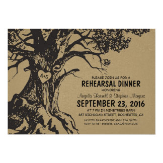Rustic old oak tree rehearsal dinner invite