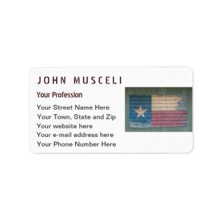 Rustic Old Texas Lone Star Flag cusomizable Address Label