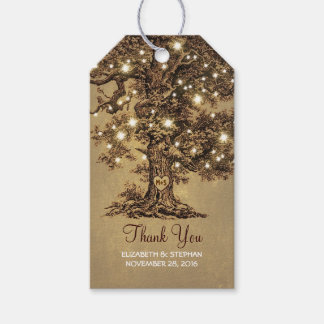 Rustic Old Tree & String Lights Wedding Thank You