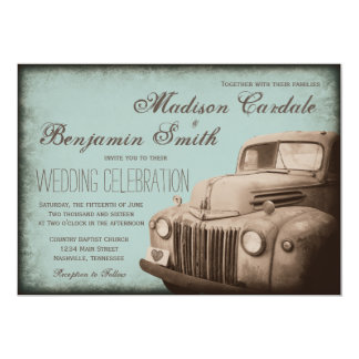 Rustic Old Truck Vintage Country Wedding Invites