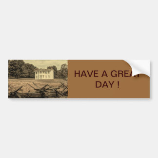 Rustic old white farm house in field car bumper sticker