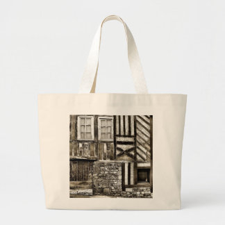 Rustic Old Wood and Stone House Large Tote Bag