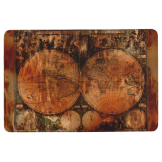 Rustic Old World Map Floor Mat