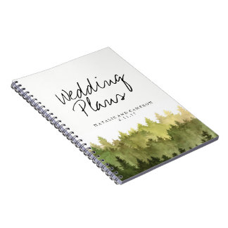 Rustic Ombre Watercolor Forest Wedding Planner Notebooks