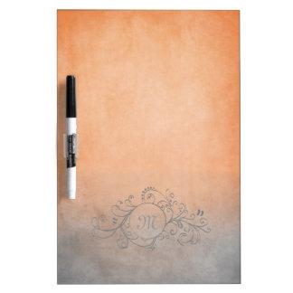 Rustic Orange and Grey Bohemian  Flourish Dry Erase Board