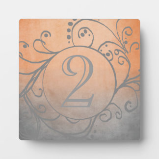 Rustic Orange and Grey Bohemian Table Number Display Plaque