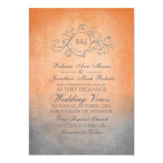 "Rustic Orange and Grey Bohemian Wedding Invitation 5"" X 7"" Invitation Card"