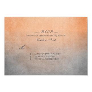 Rustic Orange and Grey Bohemian Wedding RSVP 3.5x5 Paper Invitation Card