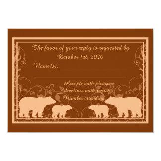 Rustic orange bear swirl custom RSVP cards 13 Cm X 18 Cm Invitation Card