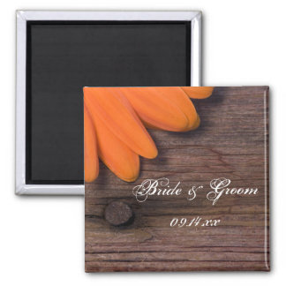 Rustic Orange Daisy and Barn Wood Country Wedding Square Magnet
