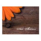 Rustic Orange Daisy and Barn Wood New Address Postcard