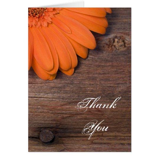 Rustic Orange Daisy Barn Wood Country Thank You