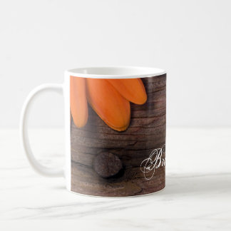 Rustic Orange Daisy Barn Wood Country Wedding Coffee Mug