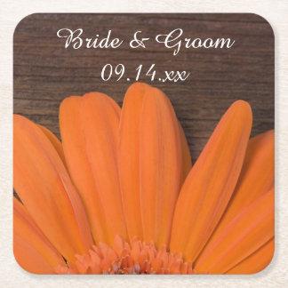 Rustic Orange Daisy Country Ranch Wedding Square Paper Coaster
