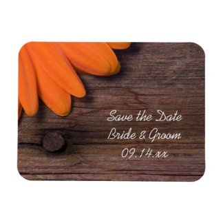Rustic Orange Daisy Country Wedding Save the Date Rectangle Magnet