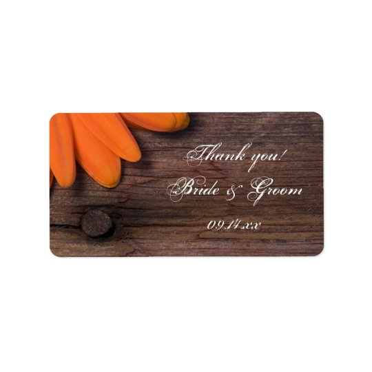 Rustic Orange Daisy Wedding Thank You Favour Tag