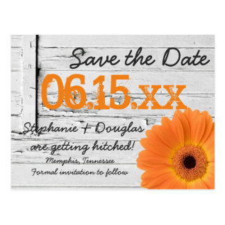 Rustic Orange Daisy Wood Save The Date Postcards