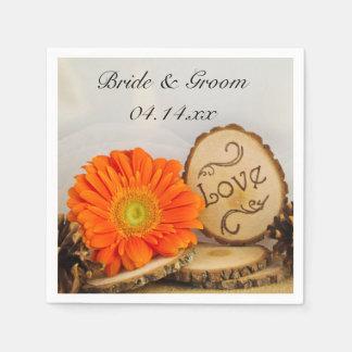 Rustic Orange Daisy Woodland Wedding Disposable Napkin