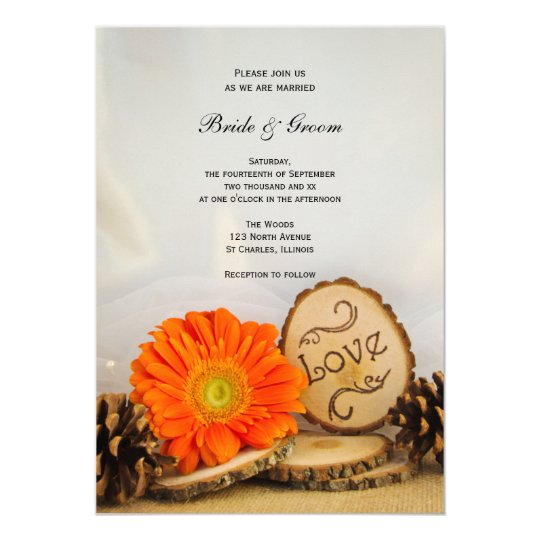 Rustic Daisy Wedding Invitations: Rustic Orange Daisy Woodland Wedding Invitation