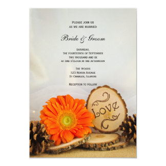 Rustic Orange Daisy Woodland Wedding Invitation