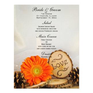 Rustic Orange Daisy Woodland Wedding Menu 21.5 Cm X 28 Cm Flyer