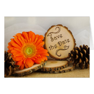 Rustic Orange Daisy Woodland Wedding Save the Date Card
