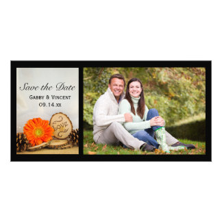 Rustic Orange Daisy Woodland Wedding Save the Date Personalised Photo Card
