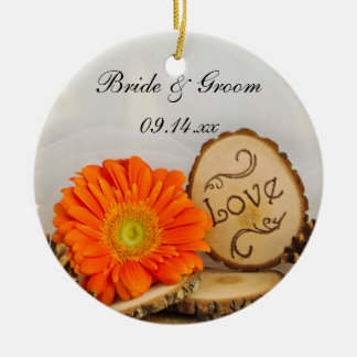 Rustic Orange Daisy Woods Wedding Christmas Ornament