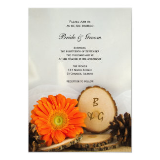 Rustic Orange Daisy Woods Wedding Invitation