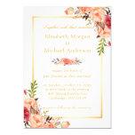 Rustic Orange Floral Chic Gold White Fall Wedding 13 Cm X 18 Cm Invitation Card