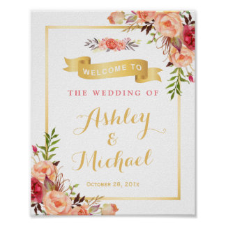 Rustic Orange Floral Fall Wedding Reception Sign