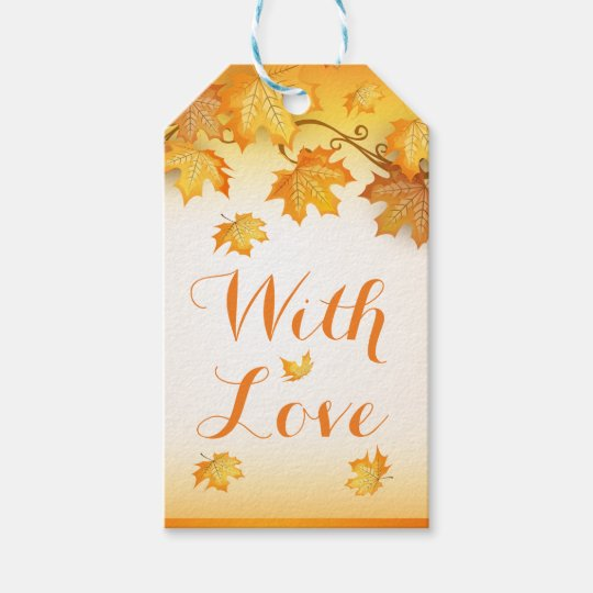 Rustic Orange Love Autumn Leaves Wedding Gift Tags