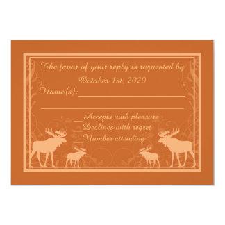 Rustic orange moose swirl custom RSVP cards 13 Cm X 18 Cm Invitation Card