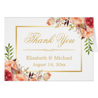 Rustic Orange Rose Flowers Gold Frame Thank You Card