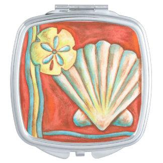Rustic Orange Seashells Compact Mirror