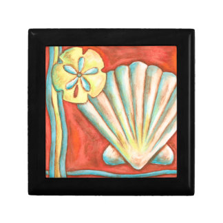 Rustic Orange Seashells Gift Box