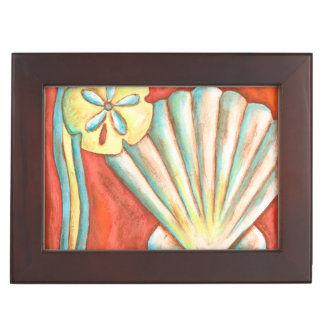 Rustic Orange Seashells Keepsake Box