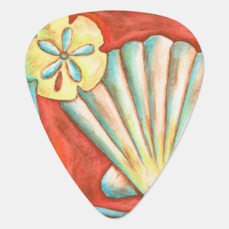 Rustic Orange Seashells Plectrum
