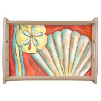 Rustic Orange Seashells Serving Tray