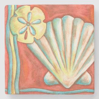 Rustic Orange Seashells Stone Coaster